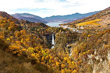 Nikko Kegon Falls and Lake Chuzenji colorful in autumn, Nikko, Tochigi Prefecture, Japan
