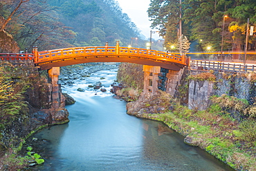 Wooden red bridge named Shinkyo over river Daiya in Nikko, Tochigi Prefecture, Japan