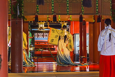Temple dancer at Futurasan Shrine in Nikko, Tochigi Prefecture, Japan