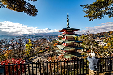 Mt. Fuji and Chureito Pagoda photographed by old men, Fujiyoshida, Yamanashi Prefecture, Japan