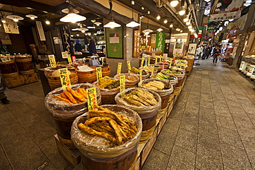 Food shop with wooden barrels at Nishiki Ichiba, Kyoto, Japan