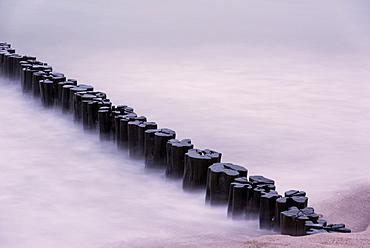 Wave Breaker, Sunset, Beach, Long Exposure, Baltic Sea, Darss, Zingst, Germany