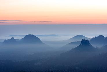 Sunrise, Kleiner Winterberg, Zschand, Fog, Saxon Switzerland, Uplands, Germany