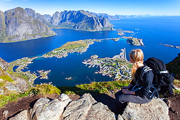 Young Woman, View, Reine, Fjord, Moskenesoya, Lofoten, Norway, Europe