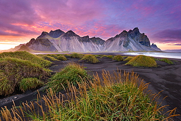 Sunset, Vestrahorn, Stokksnes, Mountains, Beach, Iceland, Europe
