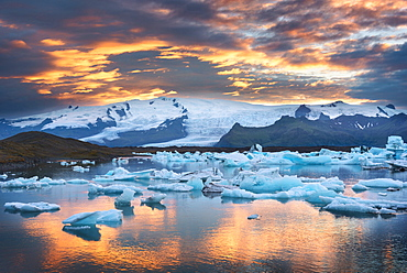 Sunset, Joekulsarlon, Glacier, Bay, Mountains, Iceland, Europe