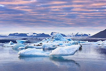 Sunset, Icebergs, Reflection, Glacier, Bay, Mountains, Iceland, Europe