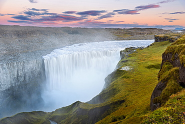 Waterfall, Dettifoss, Sunset, Spray, Gorge, Iceland, Europe