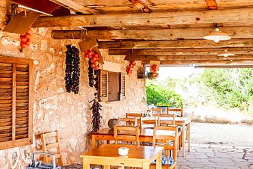 Small tavern Refugio del Águila next to the Mirador del Aguila Bunker, Mallorca, Balearic Islands, Spain