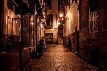 Small street Can dAnus near Placa Mercat, Palma Old town, Palma de Mallorca, Majorca, Balearic Islands, Mediterranean Sea, Spain, Europe
