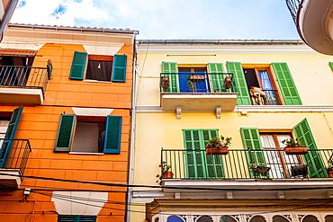 Early XX century buildings with teddybear near la Rambla, historic city centre, Ciutat Antiga, Palma de Mallorca, Majorca, Balearic Islands, Mediterranean Sea, Spain, Europe