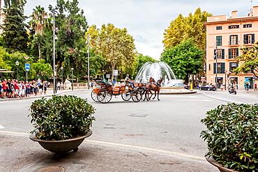 Horse carriages next to parc de Almudaina, placa de la Reina, historic city centre, Ciutat Antiga, Palma de Mallorca, Majorca, Balearic Islands, Mediterranean Sea, Spain, Europe