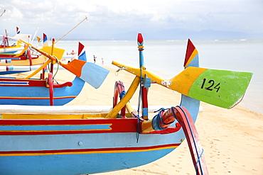 Colorful traditional fishing boats at beach, Sanur, Denpasar, Bali, Indonesia