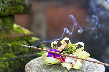 Offering with joss stick, home temple, Ubud, Gianyar, Bali, Indonesia