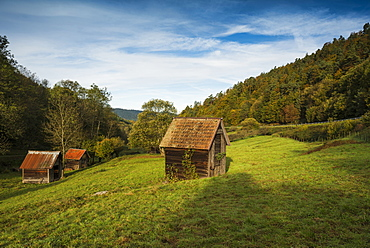 Huts near Gernsbach, Murg valley, district of Rastatt, Black Forest, Baden-Wuerttemberg, Germany