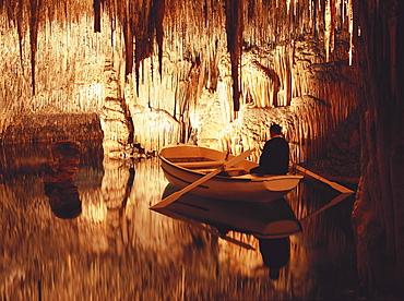 Stalactite cave, Cuevas del Drach, Porto Christo, Majorca, Spain