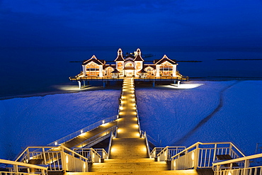 Illuminated pier, Sellin, Rugen Island, Mecklenburg-Western Pomerania, Germany