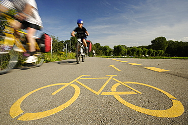 Cyclists passing bikeway, Romanshorn, Canton of Thurgau, Switzerland