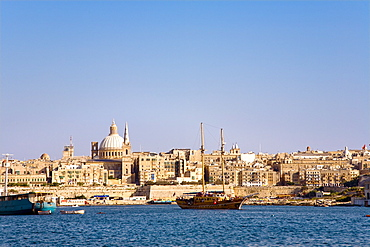 View at Marsamxett Harbour and the town of Valletta, Malta, Europe