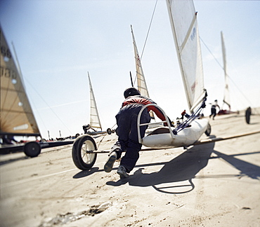 Sand yachting, St. Peter Ording, North Sea, Schleswig-Holstein, Germany