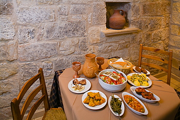 Meze, appetizers, in Araouzos Traditional Tavern, restaurant, Kathikas, Laona, near Polis, South Cyprus, Cyprus