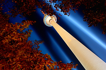 Illuminated Television Tower at night, Berlin, Germany