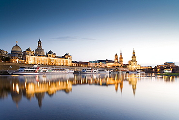 View over river Elbe to Dresden with Bruhl's Terrace, Frauenkirche, Dresden University of Visual Arts, Dresden Castle, Standehaus, Katholische Hofkirche and Semperoper, Dresden, Saxony, Germany