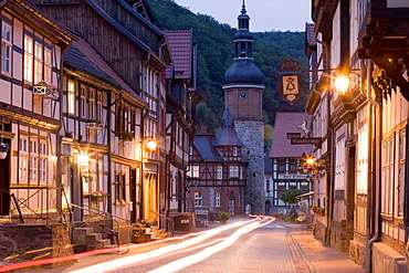 Saigertower and half-timbered houses, Stolberg, Saxony-Anhalt, Germany
