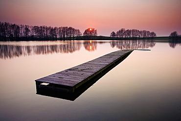 Jetty on lake, Schleswig-Holstein, Germany