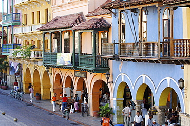 Colonial houses at Plaza de la Aduana, Cartagena, Columbia, South America