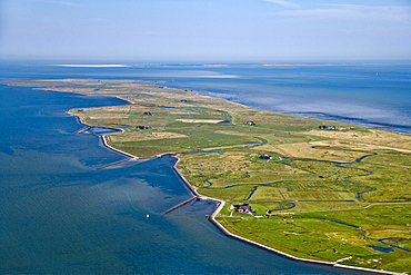 Aerial shot of Hallig Langeness, Schleswig-Holstein, Germany