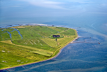 Aerial shot of Hallig Hooge, Schleswig-Holstein, Germany