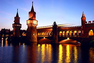 Oberbaum Bridge at night, Berlin, Germany