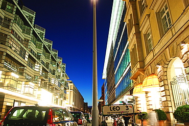 Shopping street at night, Berlin, Germany