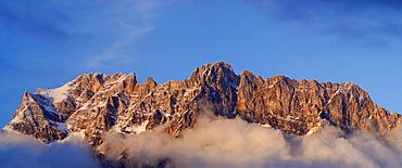 Panorama of Zugspitz range, Wetterstein range, Tyrol, Austria