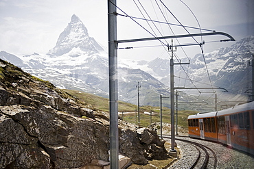 Mountain train passing through mountainous landscape, Zermatt, Matterhorn, Valais, Switzerland