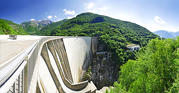 Panorama of the dam at lake Vogorno with Piz di Vogorno and power station, water power plant, Gordola, valley of Verzasca, Ticino, Switzerland