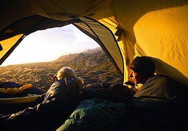 Tekkers in a tent, Greenland