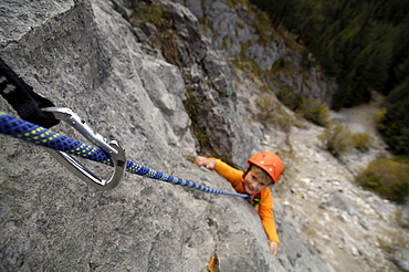 Child climbing in the mountains, Karwendel Mountains, Upper Bavaria, Bavaria, Germany