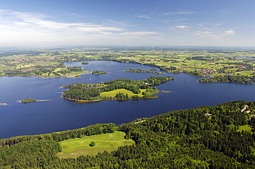Aerial shot of lake Staffelsee near Murnau, Bavaria, Germany