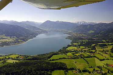 Aerial shot of lake Tegernsee, Gmund am Tegernsee, Bavaria, Germany