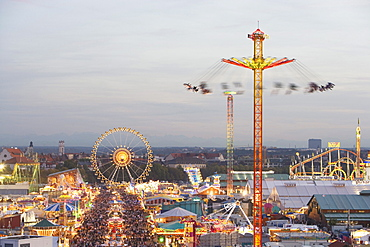 Oktoberfest, view over Theresienwiese, Munich, Bavaria, Germany