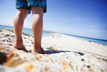 Boy on the beach, les Illetes und Llevant beach, Formentera, Balearic Islands, Spain