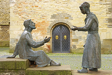 Outdoor photo, Sculpture in front of St. Brictius-church, Schöppingen, Münsterland, Northrhine-Westfalia, Germany, Europe