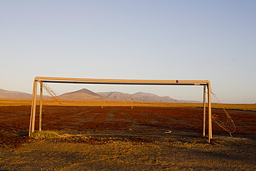 Goal on a pitch under clear sky, Las Parcelas, Fuerteventura, Canary Islands, Spain, Europe