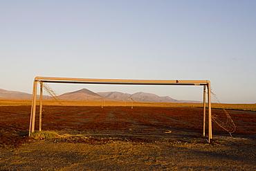 Goal on a pitch under clear sky, Las Parcelas, Fuerteventura, Canary Islands, Spain, Europe