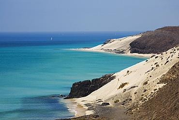 Sandy beach in the sunlight, Jandia peninsula, Fuerteventura, Canary Islands, Spain, Europe