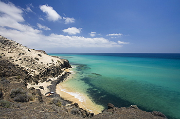 View at coast area and beach in the sunlight, Jandia peninsula, Fuerteventura, Canary Islands, Spain, Europe