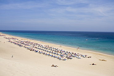 Long rows of sunshades on the sandy beach, Playa del Matorral, Playa de Jandia, Morro Jable, Jandia peninsula, Fuerteventura, Canary Islands, Spain, Europe