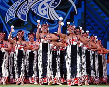 Rotorua Maori Arts Festival, Maori women singing on stage